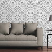 "Circle Art Group Removable Wallpaper Tile - Mosaic Chrysanthemums Black And White - 24"" x 48"""