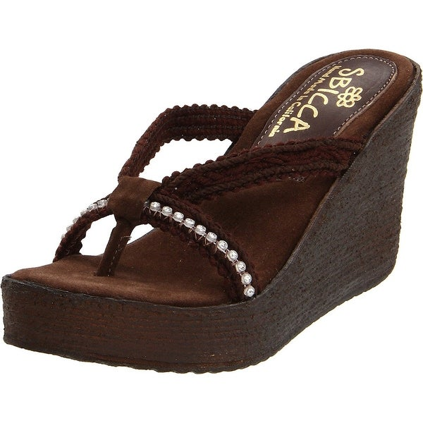 Sbicca Women's Jewel Wedge Sandal, Brown, Size 8.0 - 8
