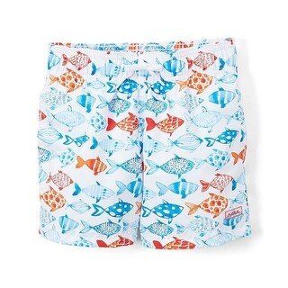 Azul Boys White Fish Print Elastic Band Drawstring Swim Shorts