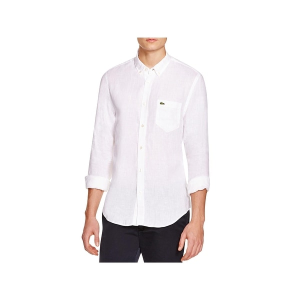 56b8894d2 Shop Lacoste Mens Button-Down Shirt Linen Dressy - M - Free Shipping Today  - Overstock - 22489456