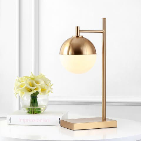 """JONATHAN Y Marcel 21"""" Iron/Glass Globe LED Table Lamp, Brass-Gold"""
