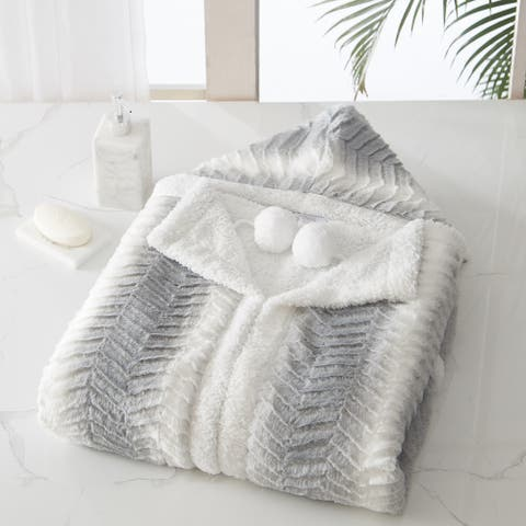 Chic Home Luigi Snuggle Hoodie Soft Coral Fleece Sherpa Lined Wearable Blanket, Grey-White 51 x 71