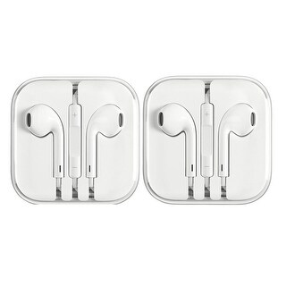 2 Pack - Apple Earphones for iPhone 6 5 4S w/ Remote & Mic - WHITE - 5 x 6 x 0.5