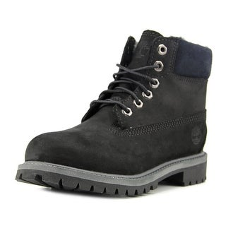 Timberland 6 In Prem Youth  Round Toe Leather Black Work Boot