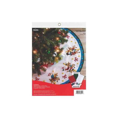 """Bucilla Felt Kit Tree Skirt 43"""" Carousel Santa - White"""