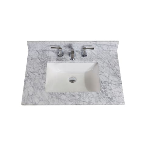 Altair Design Oristano 31 in. Natural Marble Vanity Top with White Sink