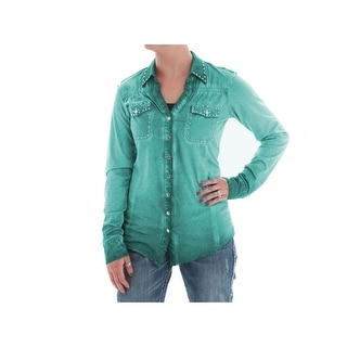 Cowgirl Tuff Western Shirt Womens L/S Jersey Button Turquoise H00459