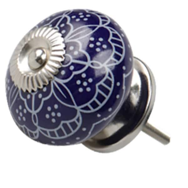 Ceramic Knobs Vintage Knob Drawer Round Pull Handle Furniture Drawer Cupboard Wardrobe Dresser Door Decorative, Blue - 1pcs