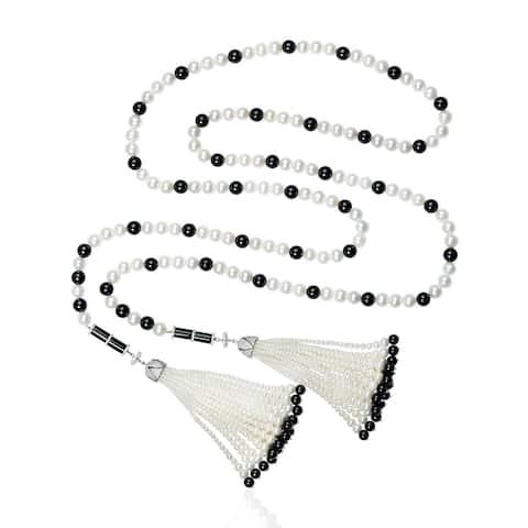 18kt Gold Diamond Onyx Pearl Lariat Necklace Tassel Jewelry With Jewelry Box
