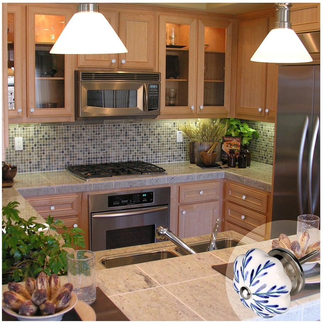 Brown Antique Set of 6 Pcs Handcrafted Glass Kitchen Cabinet Door Pulls Knobs
