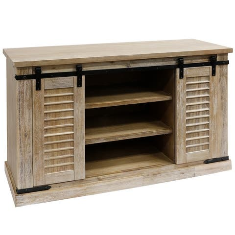 StyleCraft Peachtree Sliding Shutter Barn Door Media Console with Removable Shelves