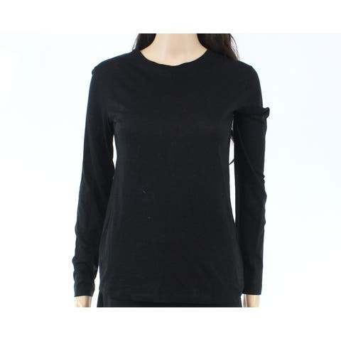 Vince. Women's Night Black Size XS Crewneck Long-Sleeve Knit Top