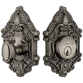 "Grandeur GVCGVC_SGLCYL_238 Grande Victorian Solid Brass Rose Keyed Entry Single Cylinder Deadbolt with 2-3/8"" Backset"