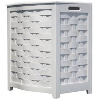 White Finished Bowed Front Veneer Laundry Wood Hamper with Interior