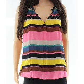 WAYF NEW Pink Women's Size XS Striped V-Neck Crinkled Tank Cami Top