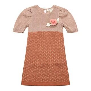 Richie House Girls' Short Sleeve Dress Sweater