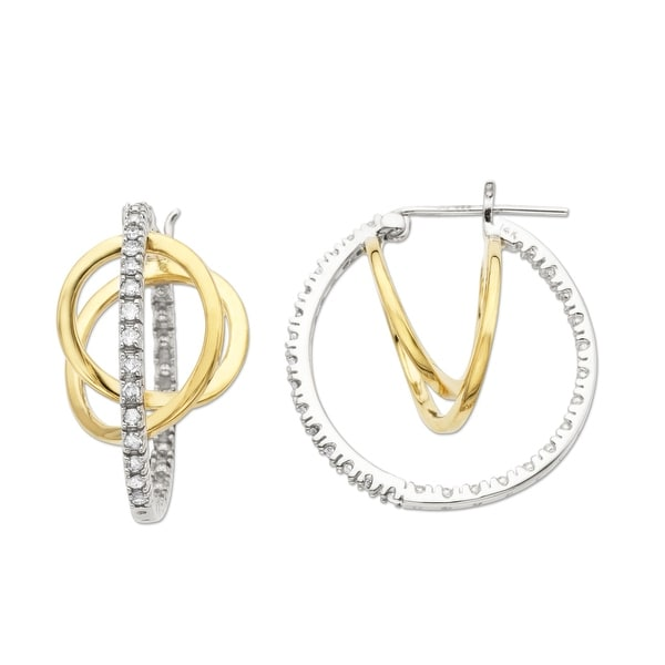 1/4 ct Diamond Hoop Earrings in 14K White & Yellow Gold
