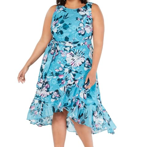 Taylor Women's Dress Island Blue Size 20W Plus A-Line Floral Belted