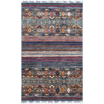 "Shahbanu Rugs Blue Super Kazak Khorjin Design With Colorful Tassles Luxurious Wool Hand Knotted Oriental Rug (2'8"" x 4'4"")"