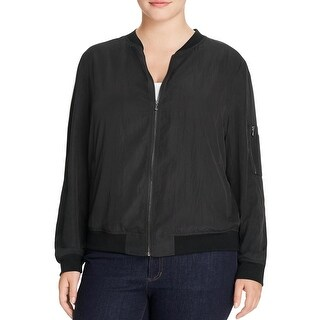Bagatelle Womens Plus Bomber Jacket Lightweight Zip Front