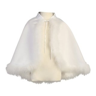 Little Girls White Satin Marabou Special Occasion Cape 5-6X