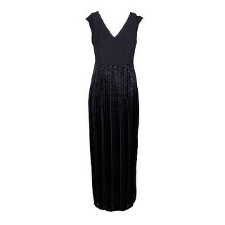 Adrianna Papell Plus Size Black Metallic Velvet Mixed Media Long Column Dress