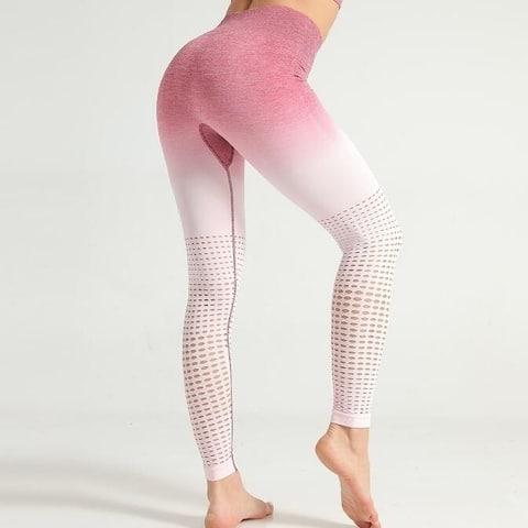 Gradient Hollow Gym Yoga Workout Leggings