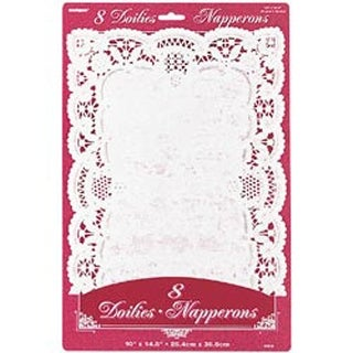 "White - Paper Doilies 10""X14.5"" Rectangle 8/Pkg"""