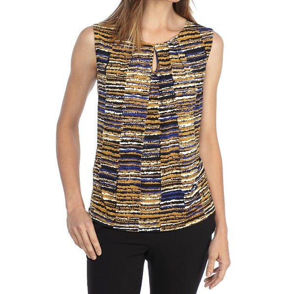 714cd78bdb3df9 Shop Kasper NEW Yellow Womens Size Medium M Printed Pleat Neck Keyhole  Blouse - Free Shipping On Orders Over  45 - Overstock - 21798272