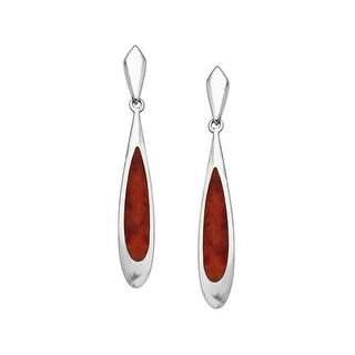 Kabana Red Spiney Oyster Shell Drop Earrings in Sterling Silver