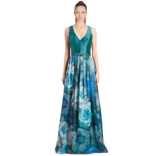 Theia Floral Print V-Neck Racerback Evening Gown Dress - 16