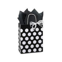 """Pack Of 250, Cub Black Polka Dots Recycled Bags 8.25 X 4.75 X 10.5"""" For Gift Packaging"""