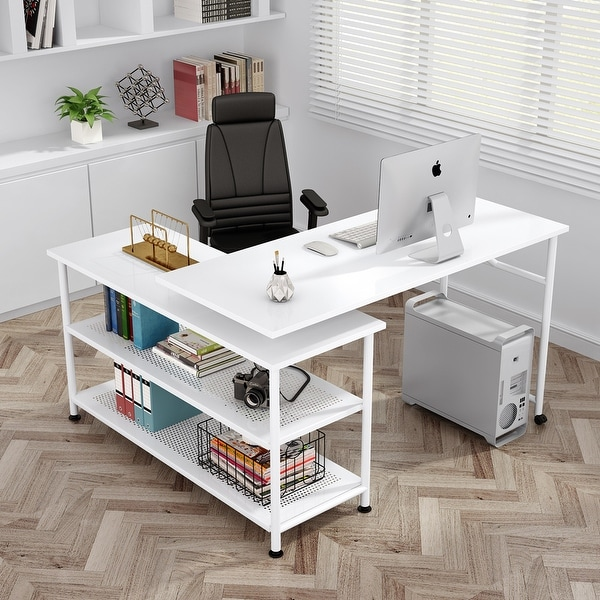 L-Shaped Computer Desk with Shelves 360° Rotating Desk Study Writing Table. Opens flyout.