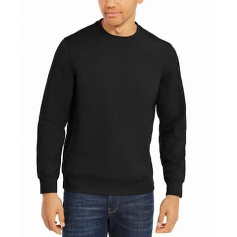 Alfani Mens Sweatshirt Black Size XL Pullover Fleece Solid Crewneck