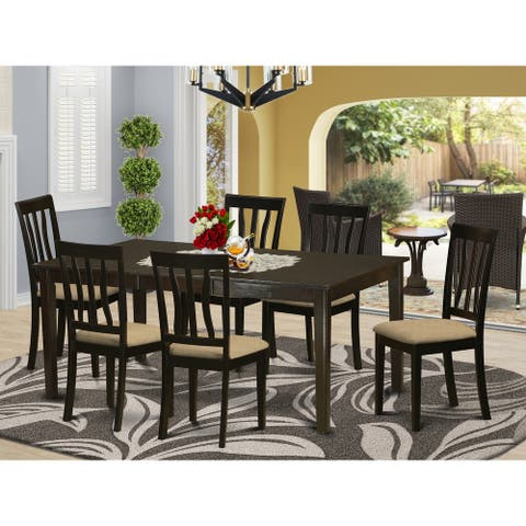 Henley HEAN7-CAP Dining Table with Leaf and 6 Kitchen Chairs 7-piece Dining Set