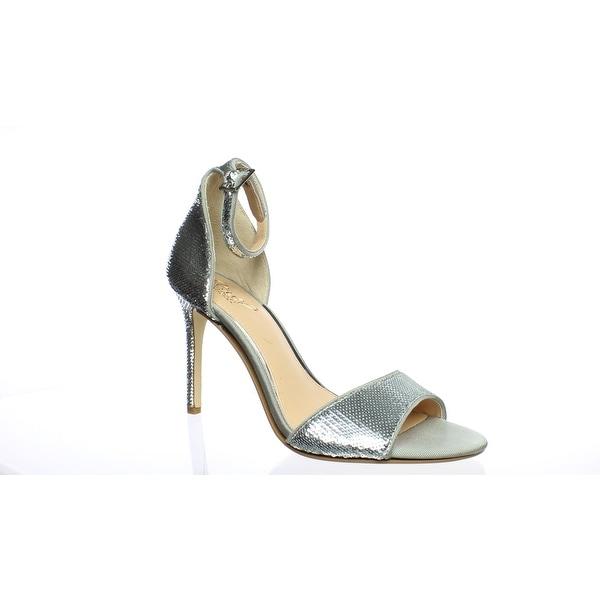 31e7339251 Shop Badgley Mischka Womens Lorena Silver Ankle Strap Heels Size 8.5 ...