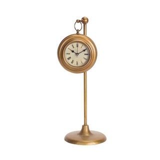 Pack of 2 Old Fashioned Roman Numeral Hanging Bronze Clock with Stand 16.5
