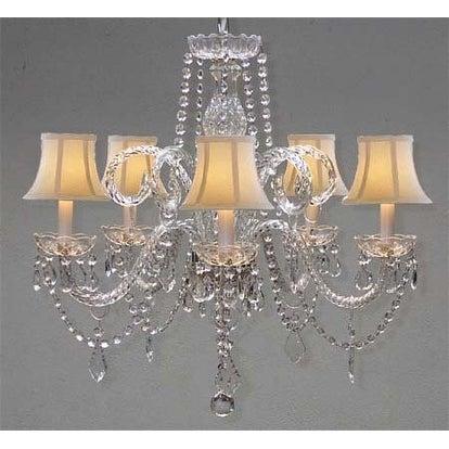 Swarovski Crystal Trimmed Crystal Chandelier Lighting & White Shades