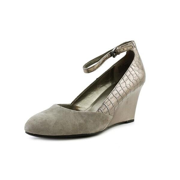 250cf99e36d Shop Bandolino Topical Women Open Toe Suede Silver Wedge Heel - Free ...