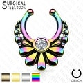 316L Surgical Steel Fake Septum Hanger Flower with Crystal Center (Sold Ind.) - Thumbnail 0