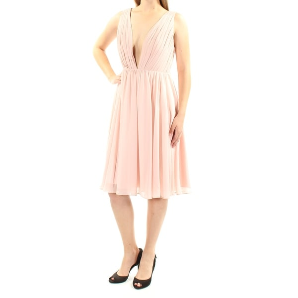 38287d3cd0d Shop FAME AND PARTNERS Womens Pink Pleated Sleeveless V Neck Below The Knee  Fit + Flare Cocktail Dress Size  8 - On Sale - Free Shipping On Orders Over   45 ...