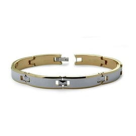 Tungsten Carbide Two Tone Gold Plated Men's Link Bracelet (8.5mm Wide) 8.25 Inches