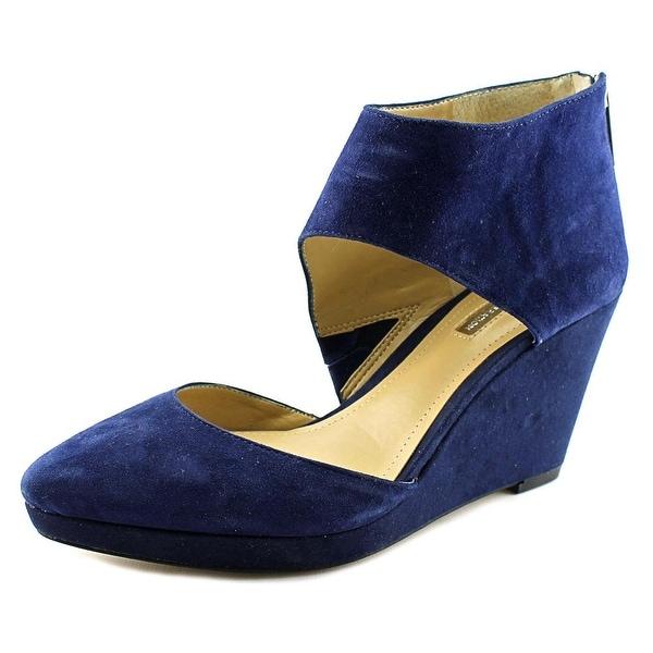 BCBGeneration Millbrook Women Open Toe Suede Blue Wedge Heel