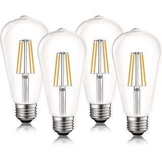 Link to Luxrite Vintage LED Edison Bulb 60W Equivalent, ST19 ST58, 2700K Warm White, 550 Lumens, Dimmable, E26 Base (4 Pack) Similar Items in Light Bulbs