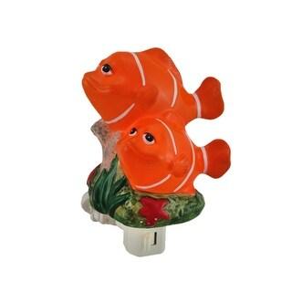 Orange Clown Fish Shaped Porcelain Night Light