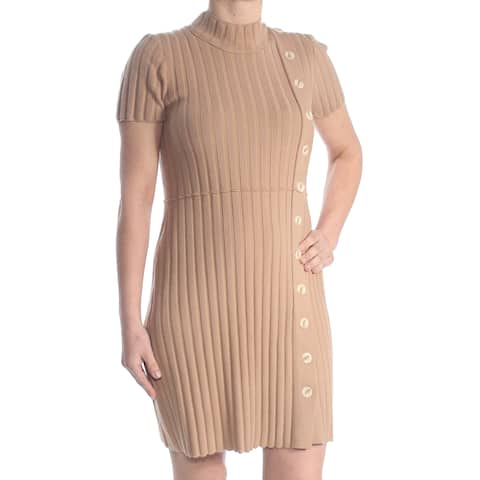 FREE PEOPLE Womens Brown Button Front Sweater Short Sleeve Turtle Neck Above The Knee Sheath Wear To Work Dress Size: L
