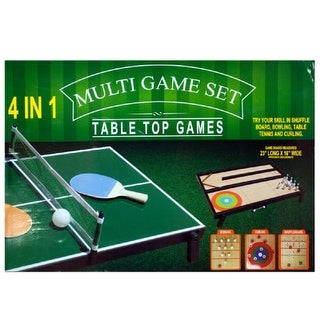 Daily Basic Party Fun 4 in 1 Tabletop Multi-Game Set - Table Tennis, Bowling, Shuffleboard and Curling