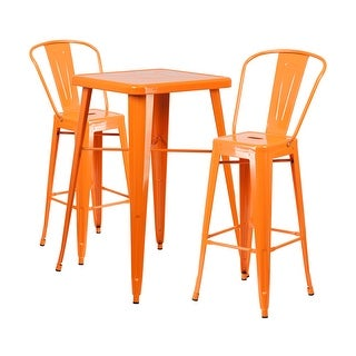 Offex Orange Metal Indoor-Outdoor Bar Table Set With 2 Barstools