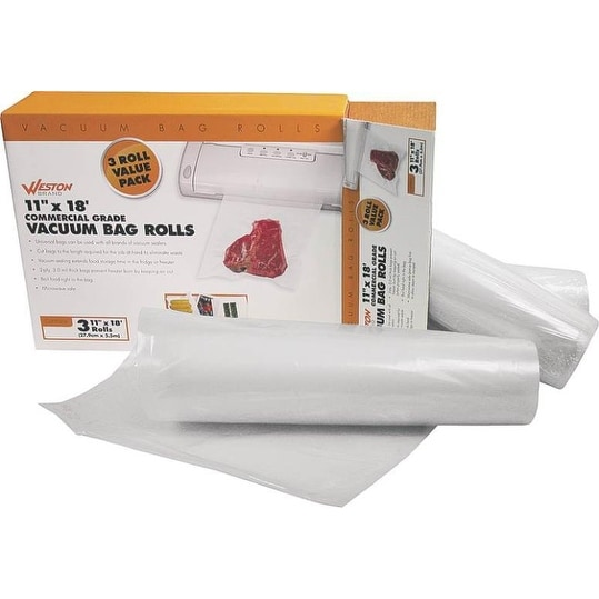 "Weston 30-0202-W Food Sealer Bag Roll, 3 Pack, 11"" x 18'"
