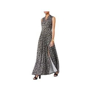 MICHAEL Michael Kors Womens Petites Maxi Dress Printed Surplice - pxs